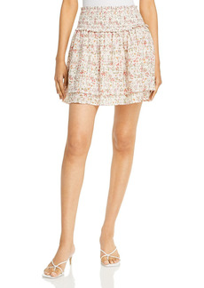 Rails Addison Smocked Floral Print Skirt