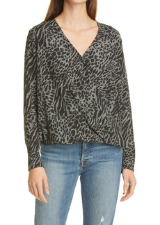 Rails Hillary Animal Mix Print Wrap Front Long Sleeve Blouse