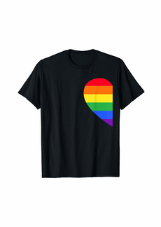 Rainbow Heart Lesbian Bisexual LGBT Pride Valentine Day Gift T-Shirt