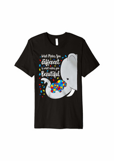 Rainbow What Makes You Different Elephant Mom Autism Child Awareness Premium T-Shirt