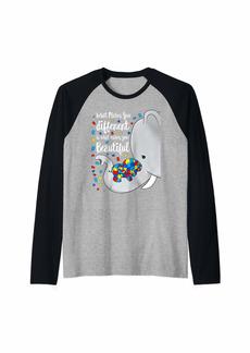 Rainbow What Makes You Different Elephant Mom Autism Child Awareness Raglan Baseball Tee