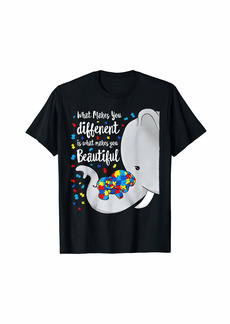 Rainbow What Makes You Different Elephant Mom Autism Child Awareness T-Shirt