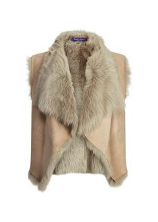 Ralph Lauren Cassie Reversible Suede & Shearling Vest