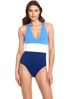 Ralph Lauren Color-Block Twist Back Halter One-Piece