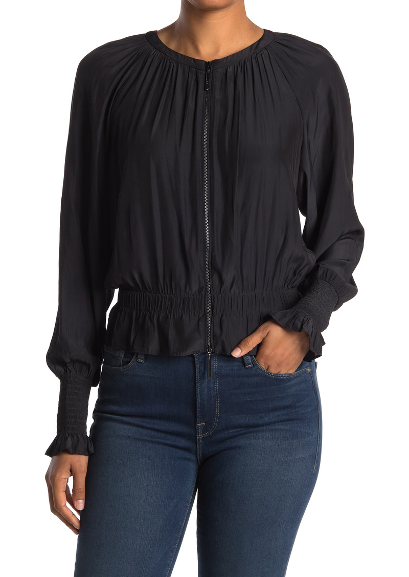Ramy Brook Arly Zip Front Long Sleeve Cropped Ruffled Blouse