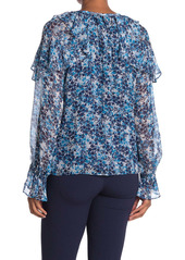 Ramy Brook Celeste Printed Ruffle Silk Blend Blouse