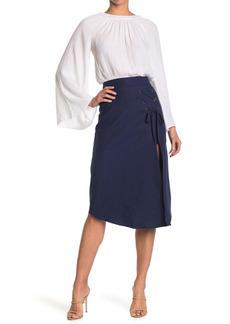 Ramy Brook Faye Grommet Lace-Up Linen Blend Skirt