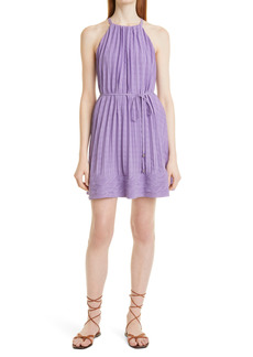 Ramy Brook Bobbi Check Pleated Halter Neck Dress
