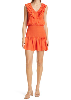 Ramy Brook Ellery Smocked Ruffle Neck Sleeveless Dress