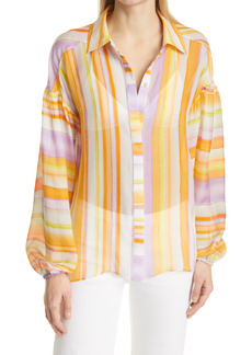 Ramy Brook Felix Stripe Balloon Sleeve Silk Blouse