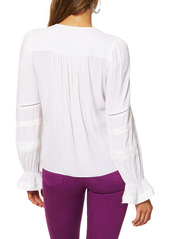 Ramy Brook Finn Pintuck and Lace Inset Blouse