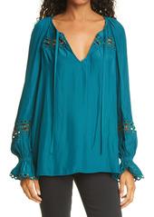 Ramy Brook Grady Lace & Stud Detail Long Sleeve Blouse