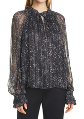 Ramy Brook Libbie Metallic Thread Dot Print Long Sleeve Blouse