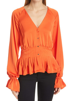 Ramy Brook Margie Ruffle Cuff Long Sleeve Peplum Blouse