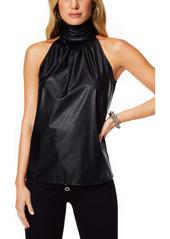 Ramy Brook Pam Sleeveless Faux Leather Silk Top