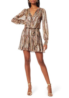 Ramy Brook Rumer Metallic Stripe Faux Wrap Minidress