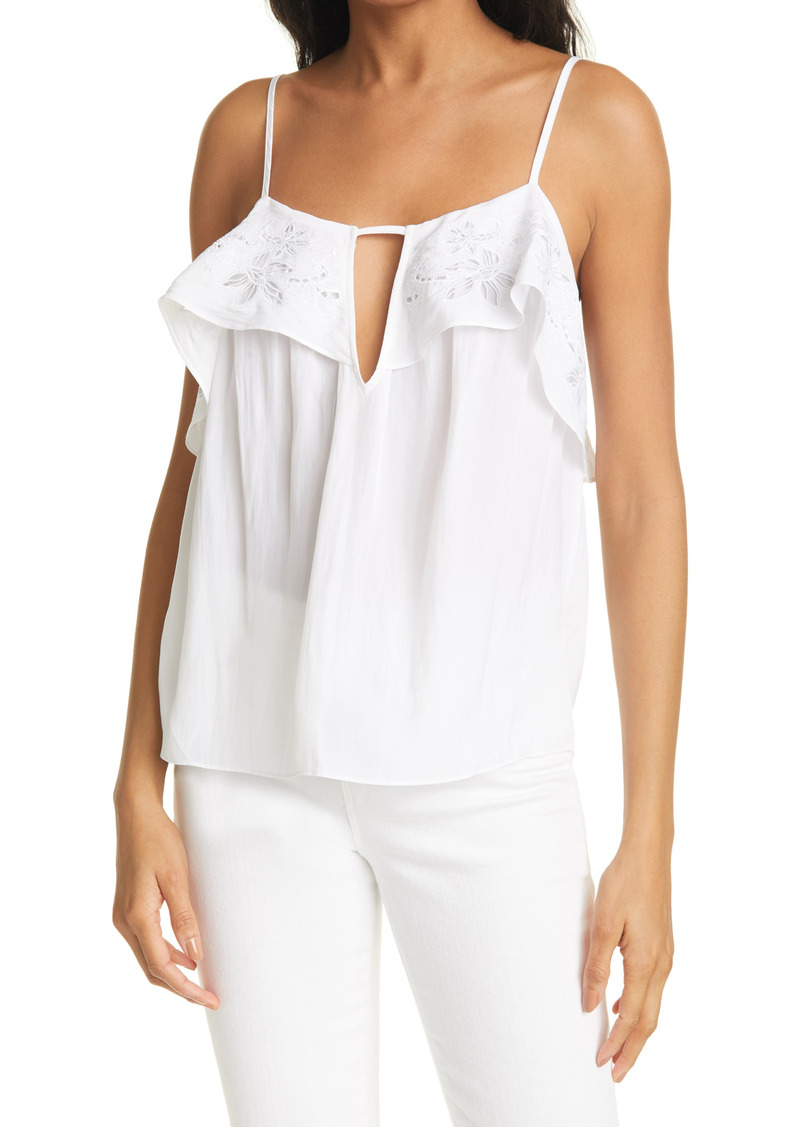 Ramy Brook Shona Eyelet Ruffle Sleeveless Top
