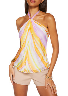 Ramy Brook Stripe Halter Neck Silk Blouse