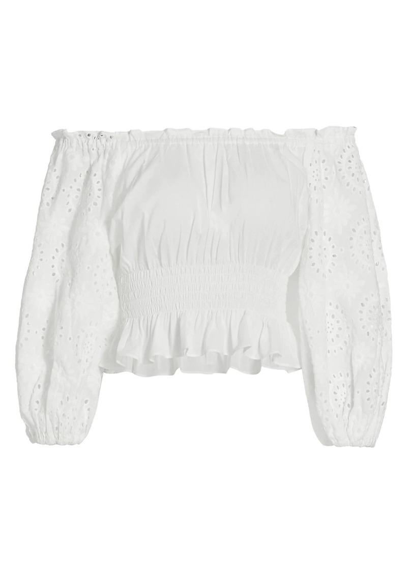 Ramy Brook Trish Off-The-Shoulder Cotton Peasant Blouse