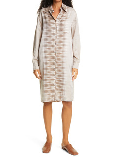Raquel Allegra Classic Tie Dye Long Sleeve Silk Blend Shirtdress