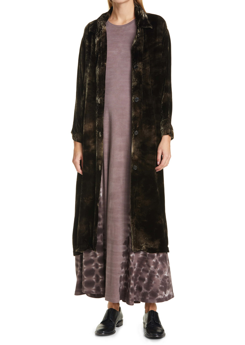 Raquel Allegra House Party Velvet Trench Coat