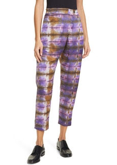 Raquel Allegra Tie Dye Plaid Flat Front Crop Pants
