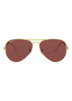 Ray-Ban 55mm Polarized Aviator Sunglasses