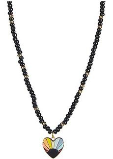 Rebecca Minkoff Beaded Rainbow Heart Pendant Necklace