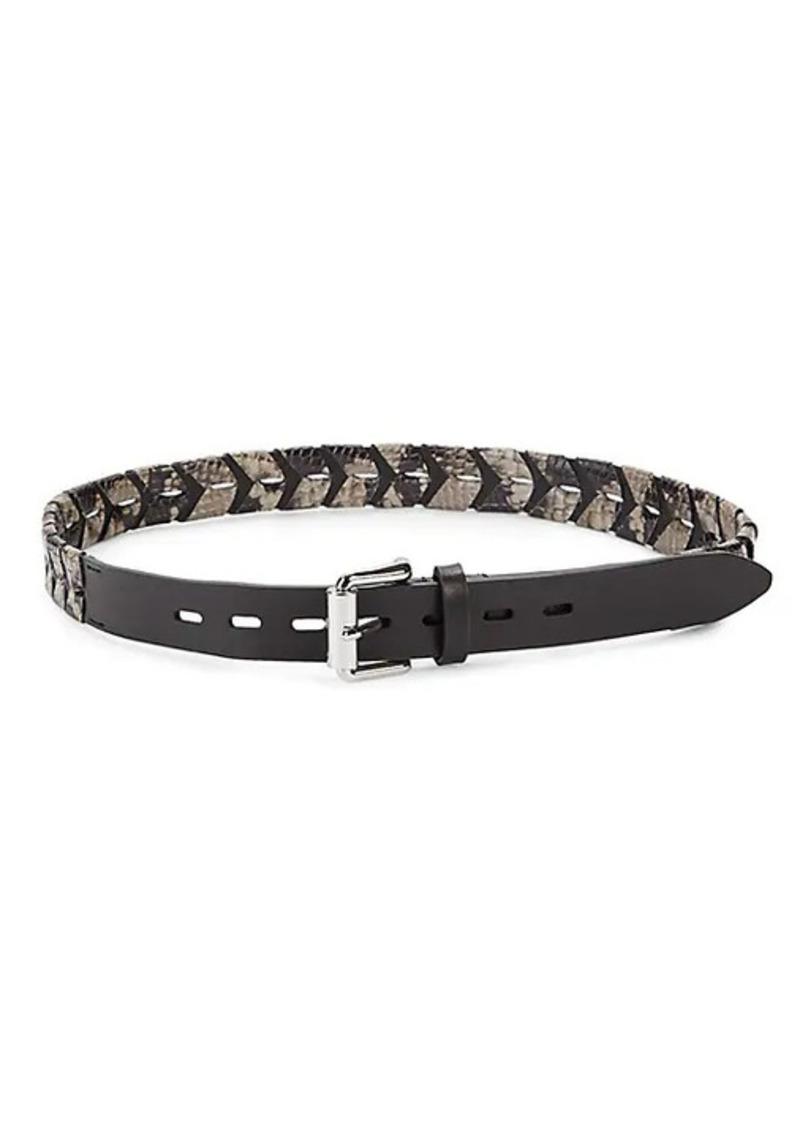 Rebecca Minkoff Embossed Snakeskin-Print Leather Belt