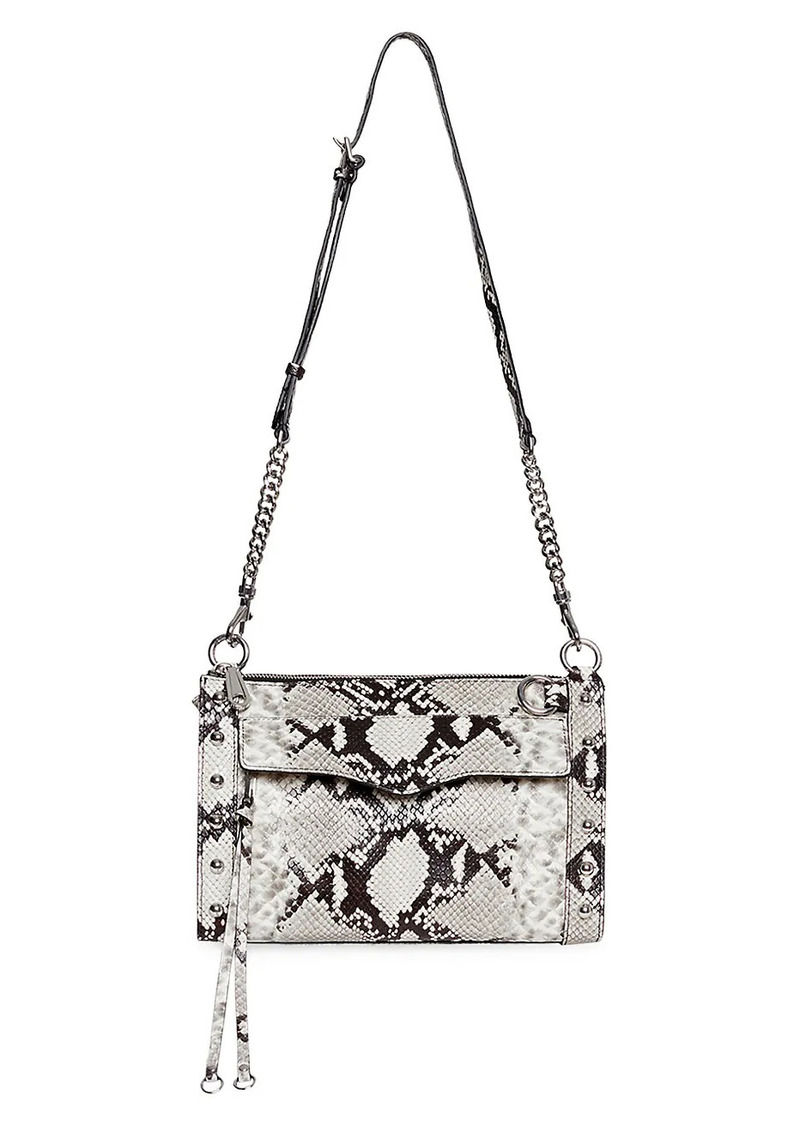 Rebecca Minkoff M.A.B. Studded Python-Embossed Leather Crossbody Bag