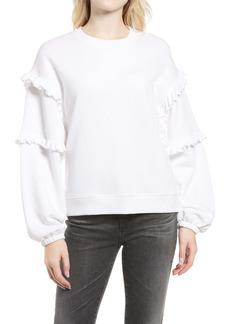 Rebecca Minkoff Evelyn Frill Balloon Sleeve Cotton Sweatshirt