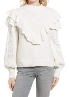 Rebecca Minkoff Tillie Ruffle Yoke Cotton Blend Sweater