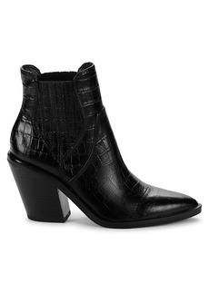 Rebecca Minkoff Sabana Croc-Embossed Leather Western Booties