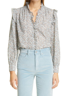 La Vie Rebecca Taylor Odette Paisley Metallic Detail Cotton Blouse