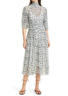 Rebecca Taylor Deco Fleur Elbow Sleeve Silk Dress