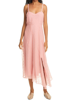Rebecca Taylor Dot Embroidered Crinkle Chiffon Maxi Sundress