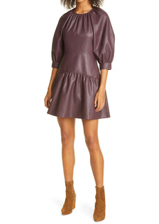 Rebecca Taylor Faux Leather Puff Sleeve Dress