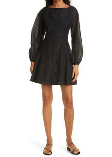 Rebecca Taylor Lace Inset Long Sleeve Cotton & Silk Dress