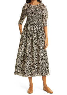 Rebecca Taylor Osaka Ruched Sleeve Cotton & Silk Dress
