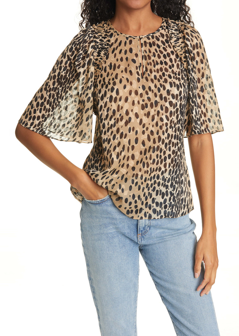 Rebecca Taylor Pebble Leopard Print Silk Blend Blouse