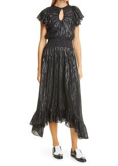 Rebecca Taylor Safari Metallic Print Silk Blend Dress