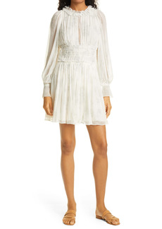 Rebecca Taylor Toile Long Sleeve Silk Dress