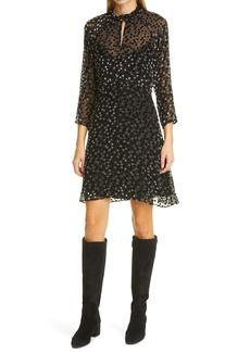 Rebecca Taylor Velvet Dot Fit & Flare Dress
