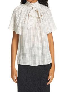 Rebecca Taylor Windowpane Plaid Short Sleeve Silk Blouse