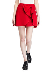 RED Valentino Mini Cady Tech Skirt w/ Draped Bow