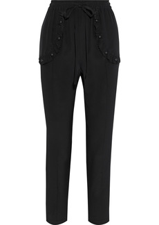 RED Valentino Redvalentino Woman Ruffle-trimmed Studded Silk Crepe De Chine Tapered Pants Black