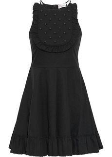 RED Valentino Redvalentino Woman Studded Gathered Stretch-cotton Poplin Mini Dress Black