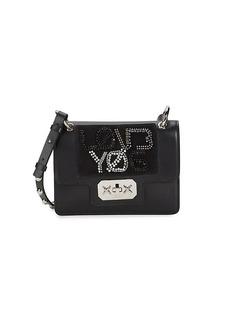 RED Valentino Rhinestone Beads & Studs Leather Crossbody Bag