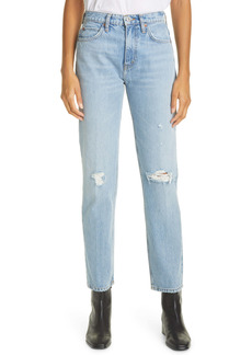 Re/Done '70s High Waist Distressed Straight Leg Jeans (Destroyed Sunfaded Indigo)