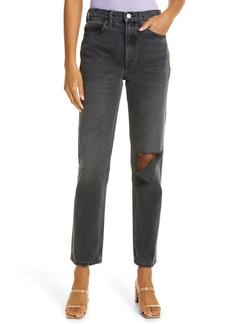 Re/Done '70s High Waist Distressed Straight Leg Jeans (Worn Black)
